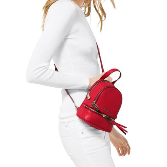 50b01b719281 Michael Kors Bags | Rhea Red Leather Mini Backpack Nwt | Poshmark